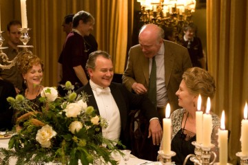 A still from Downton Abbey's second season featuring Hugh Bonneville and Penelope Wilton as Robert and Lady Isobel Crawley.