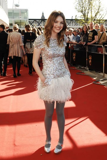 Skins actress Hannah Murray shimmered in a feathered Collette Dinnigan dress (BAFTA / Richard Kendal).