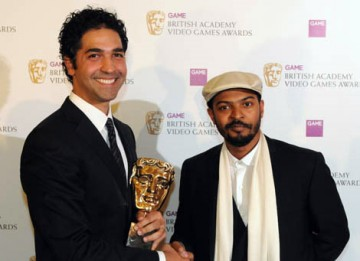 Adulthood writer, director and actor Noel Clarke presented the Gameplay Award to Amir Rahimi for Boom Box (BAFTA / James Kennedy).