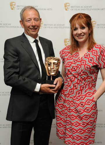 The IT Crowd's Katherine Parkinson with Tony Prescott, who won a BAFTA for directing the live episode of Coronation Street. (Pic: BAFTA/Chris Sharp)
