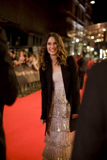 To protect her from the February chill Leading Actress nominee Keira Knightley wore an Alexander Wang Jacket over her Valentino couture dress (pic: Greg Willams / Art+Commerce).