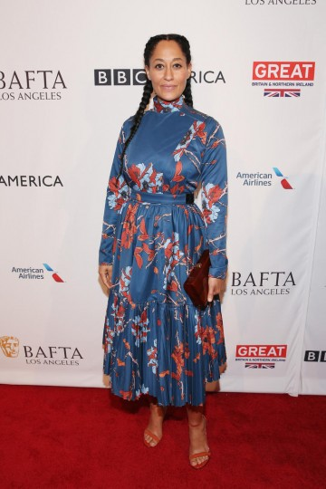 Actress Tracee Ellis Ross who stars in Black-ish, on the 2017 BAFTA Tea red carpet