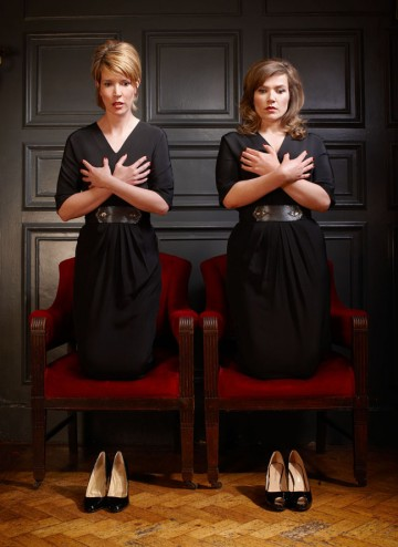 Julia Davis and Jessica Hines pose for the Television Awards comedy photoshoot in 2010.