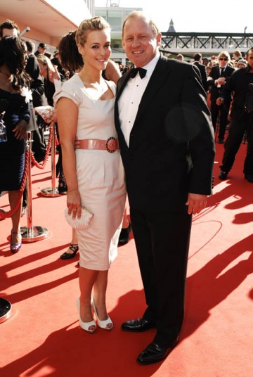 Spooks stars Miranda Raison looked demure next to co-star Peter Firth in a cream dress by Reiss (BAFTA/Richard Kendal).
