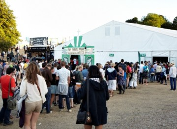 Queues around the tent to see BAFTA's Q&A session with Chris Morris (Picture: Jonathan Birch)