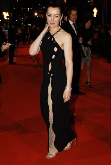 Olivia Williams appears in two of tonight's top films: An Education and Sex & Drugs & Rock & Roll. She takes to the red carpet in long black Catherine Walker dress with sheer cut out (BAFTA/Richard Kendal).