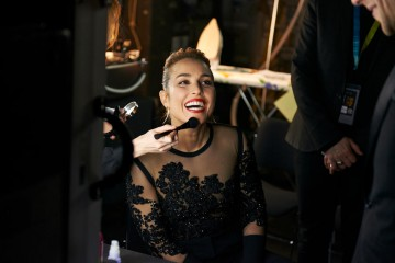 Adapted Screenplay presenter Noomi Rapace in the backstage styling area at London's Royal Opera House.