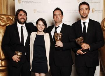 The Dead Set team celebrate their Interactive Creative Contribution BAFTA with Little Dorrit star Claire Foy (BAFTA / Richard Kendal).