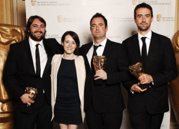 The Dead Set team celebrate their Interactive Creative Contribution BAFTA with Little Dorrit star Claire Foy (BAFTA / Richard Kendal).