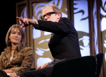 Bill points out his daughter in the audience who he fears will be mortified by his account of his youth and relationships. (Picture: BAFTA/ J.Simmonds)