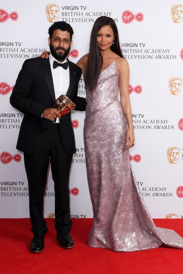 Adeel Akhtar after receiving the award for Leading Actor presented by Thandie Newton