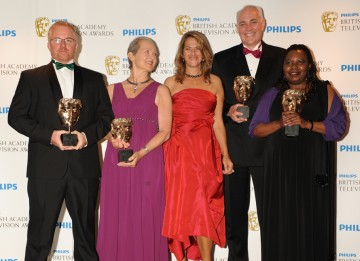 Jezza Neumann and Xoliswa Sithole accepted the Current Affairs BAFTA for Zimbabwe's Forgotten Children, along with Brian Woods and Deborah Shipley. The BAFTA was presented by Tracey Emin. (Pic: BAFTA/Richard Kendal)