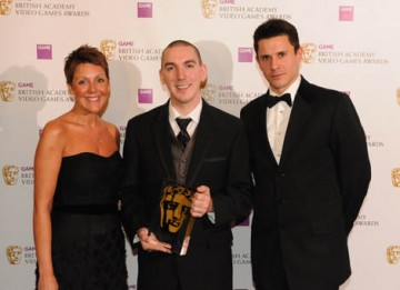 Joerb Trouvain received the GAME Award of 2008 for Call of Duty 4: Modern Warfare. The Award was presented on stage by Jeremy Edwards and GAME Group CEO Lisa Morgan  (BAFTA / James Kennedy).