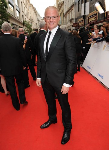 Heston Blumenthal arrives at the BAFTAs. His programme Heston's Feasts is competing in the Features category (BAFTA/Richard Kendal).