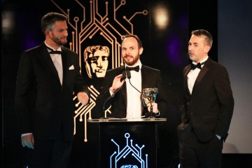 The Batman: Arkham Knight team accept the award for British Game