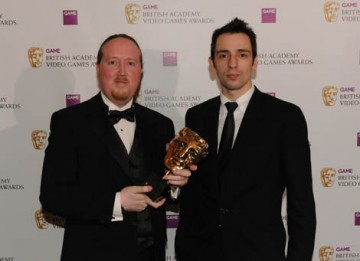 James Honeywell received the BAFTA Award for Professor Layton and the Curious Village from Ralf Little, star of Two Pints of Lager and a Packet of Crisps and The Royle Family (BAFTA / James Kennedy).