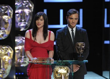 Doctor Who star Michelle Ryan and Gossip Girl actor Ed Westwick presented the fiercely contested International category to the 1950s drama Mad Men (BAFTA / Marc Hoberman).