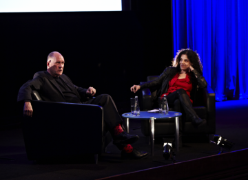 Film producer Tanya Seghatchian hosted a Q&A session with Nicholson after the lecture. (Picture: BAFTA / J. Birch)