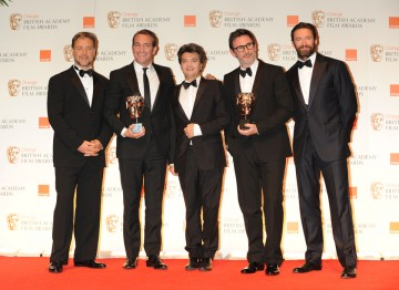 Presenters Hugh Jackman and Russell Crowe with producer Thomas Langmann.