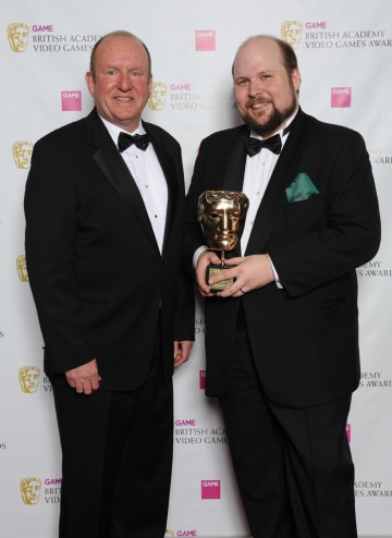 Ian Livingstone OBE with Swedish Minecraft creator Markus Persson, who collected the Special Award