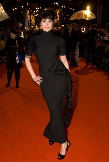 Gemma Arterton, former head girl of St Trinian's, arrived to present the award for Best Sound in a stylish, short-sleeved Dior number (BAFTA / Richard Kendal).