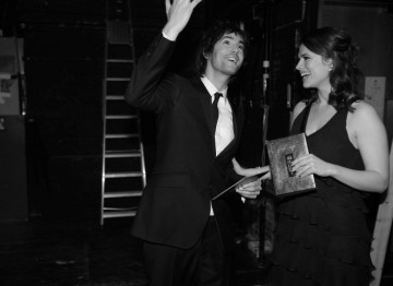 The Duchess and Brideshead Revisited star Hayley Atwell and Fifty Dead Men Walking star Jim Sturgess backstage before presenting the Short Film BAFTA (Greg Williams / Art+Commerce).