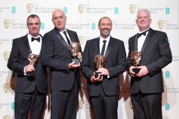 Winners of the Special Visual Effects award - Star Wars: The Force Awakens. From L-R: Chris Corbould, Roger Guyett, Paul Kavanagh and Neil Scanion