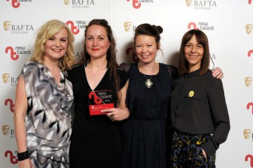 Claire Nicol, Robin Haig & Lindsey McGee - Winner in the Drama category for 'Hula' with presenter Kate Dickie