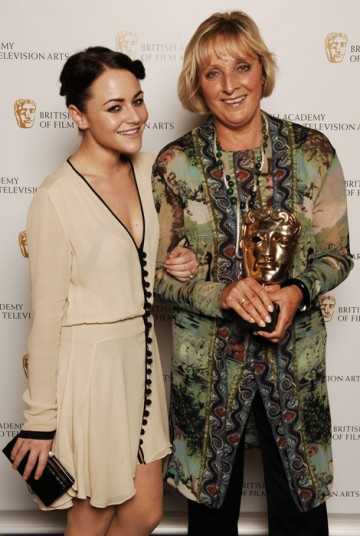 Christine Walmesley-Cotham, winner of the Make Up and Hair Design BAFTA for Miss Austen Regrets with category presenter Jaime Winstone, star of Dead Set (BAFTA / Richard Kendal).