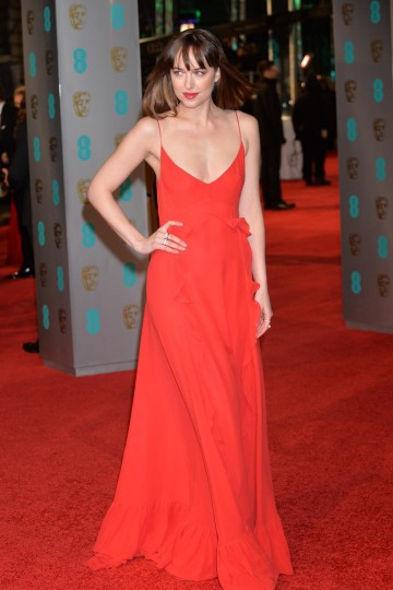 Nominee for this years EE Rising Star award, Dakota Johnson looks ravishing on the red carpet