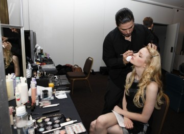 Talulah Riley in the make-up chair prior to announcing the nominees.