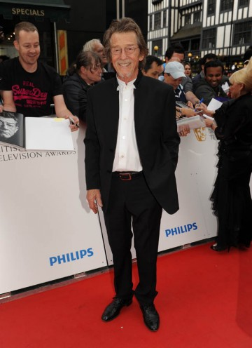 John Hurt arrives at the London Palladium to find out if he has won the Leading Actor award for his role in An Englishman In New York (BAFTA/Richard Kendal).