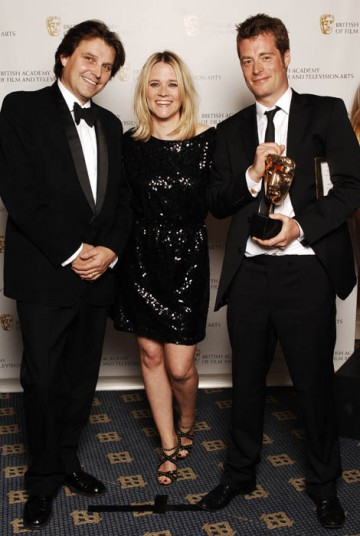 Director / producer Daniel Vernon (on the right) celebrates his Break-through Talent award with BBC radio presenter Edith Bowman and award sponsor from The Farm (BAFTA / Richard Kendal).