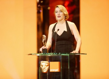 Double nominee Kate Winslet accepted the Leading Actress BAFTA for her role in The Reader (BAFTA / Marc Hoberman).
