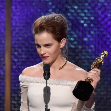 Honoree Emma Watson accepts the Britannia Award for British Artist of the Year