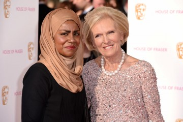 Nadiya Hussain and Mary Berry pose in the sun on the red carpet