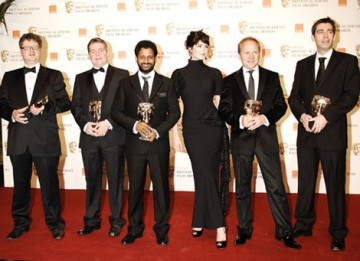 Actress Gemma Arterton presented the BAFTA for Sound to Glenn Freemantle, Richard Pryke, Resul Pookutty, Tom Sayers and Ian Trapp for their work on Slumdog Millionaire (BAFTA/ Richard Kendal).
