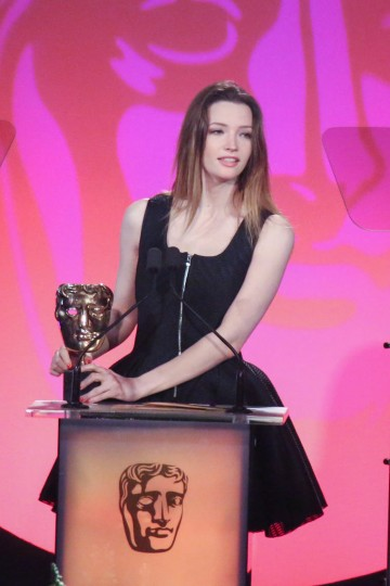 Tallulah Riley presents the award for Entertainment Craft Team sponsored by Hotcam at the British Academy Television Craft Awards in 2015