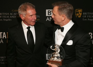 Actors Harrison Ford and Daniel Craig together backstage at the 2012 Britannia Awards.
