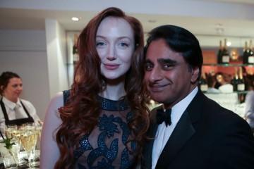 Olivia Grant enjoys the champagne Taittinger reception with Sanjeev Bhaskar