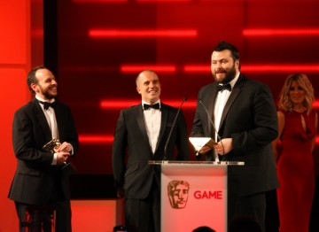 Sefton Hill and Paul Crocker pick up the Performer BAFTA on behalf of Mark Hamill, who won for his performance as The Joker in Batman: Arkham City.