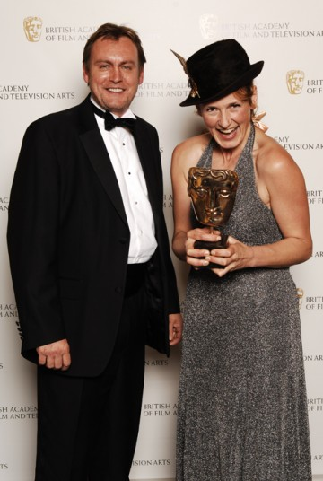 Ashes To Ashes star Philip Glenister presented the Production Design award to Jacqueline Abrahams for Wallander, the fourth BAFTA of the night for the detective series (BAFTA / Richard Kendal).