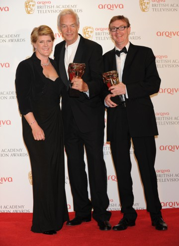 Presenter Claire Balding with Jon Snow and Jim Grey, the winning News Coverage team.