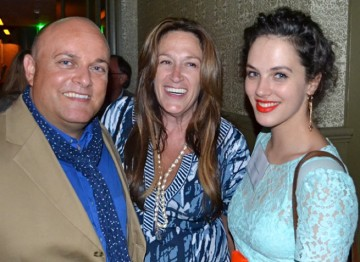 Actress Jessica Brown Findlay with BAFTA Los Angeles Board Members Nigel Daly and Melanie Greene.
