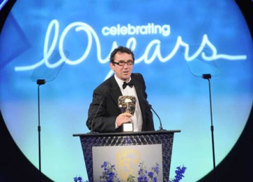 Phil Daniels, who starred as the voice of Fetcher the Rat in Chicken Run, presented the Academy's Special Award to Aardman Animations (BAFTA / Richard Kendal).