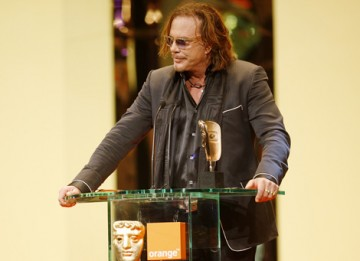 With an honest appraisal of his fifteen years in the wilderness Mickey Rourke accepts the Leading Actor award for his role in The Wrestler (BAFTA / Marc Hoberman).