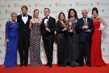 Winners of the Outstanding British Film award: Brooklyn. From L-R: Julie Walters, Domhnall Gleeson, Saoirse Ronan, John Crowley, Fionla Dwyer, Amanda Posey, Nick Hornby and Eileen O'Higgins