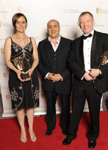 George Foulgham and Lisa Marie McStay, winners of the Sound Factual BAFTA for Trawlermen with comedian Omid Djalili