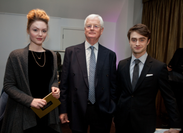 Actors Daniel Radcliffe and Holliday Grainger with BAFTA Chairman Tim Corrie.