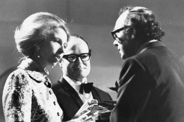 HRH The Princess Anne presents Eric Morecambe (and comedy partner Ernie Wise) with the Light Entertainment Performance BAFTA for 'The Morecambe and Wise Show'.